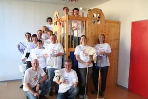 Das Renovierteam der BNP Paribas Leasing Solutions im Kinderschutz-Zentrum