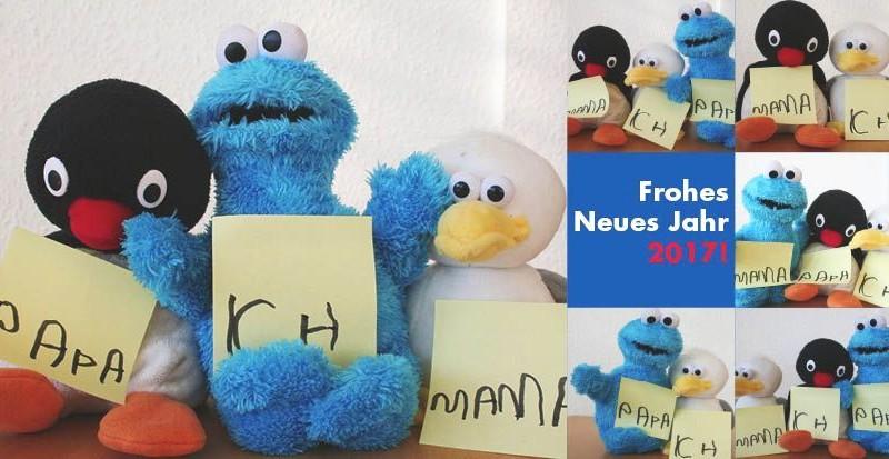 """Neujahrskarte des Kinderschutzbundes Köln-""""Familienaufstellung"""" mit Kuscheltieren"""
