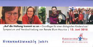 Einladungskarte Symposium/ Verabschiedung Renate Blum-Maurice