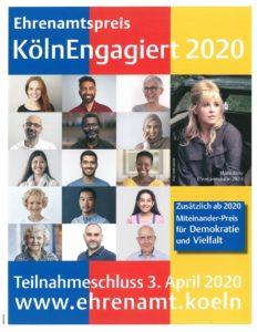 Poster Ehrenamtspreis Köln/Engagiert 2020